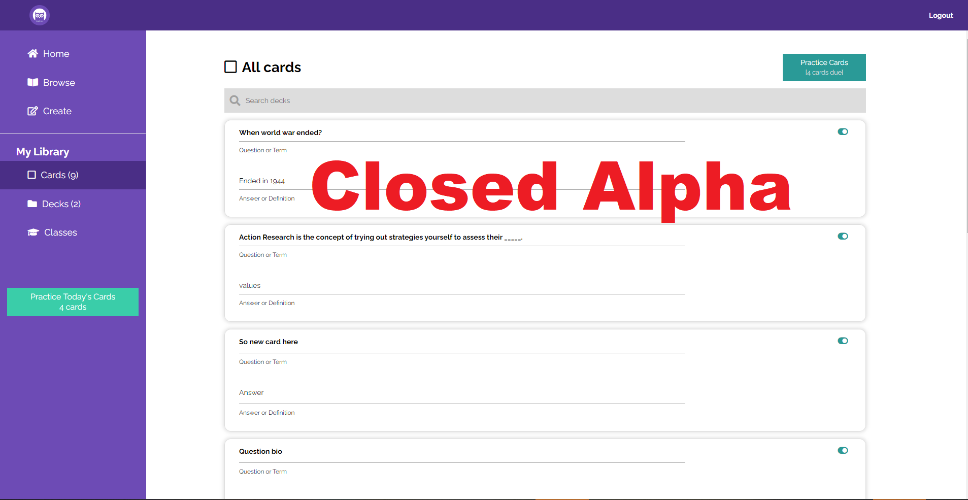Sapienza - Learning Platform in Closed Alpha